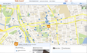 Screengrab of Walkscore for Brown University, showing how the campus is integrated around city streets.