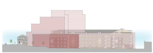 Comparison of hospital structure with proposed residential development. Dotted lines show outline of the much taller existing hospital building.