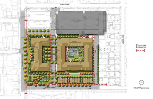 Proposed residential hospital development, with new walking paths labeled with red arrows. (Click to expand.)