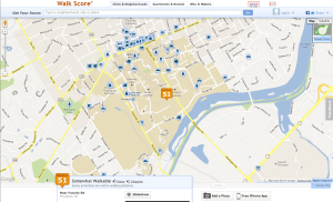 Walkscore screengrab: Princeton U appears to be represented by the Roberts Statium