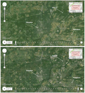 Top - Princeton from Landsat imager 1984. Bottom- Princeton as seen by Landsat in 2012.