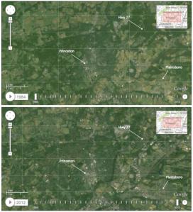 Top - Princeton from Landsat imager 1984. Bottom- Princeton as seen by Landsat in 2012.