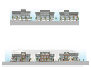 New hospital site plan features townhouses to fit in better with the neighborhood.