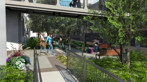 'Garden Walk' between apartment building and parking garage features significant new plantings and wooden benches-- a change from metal benches suggested by Princeton SPRAB (Click to expand.)
