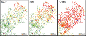 Current and projected traffic in Central Jersey according to 'Route 1 Growth Strategy' report. Princeton is where 206 and 27 meet, just north of Rt 1. Red lines indicate heaviest traffic. (Click to expand.)