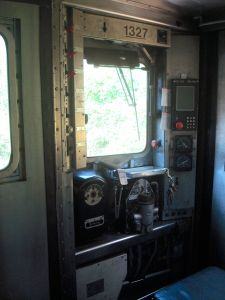 Driver's station on the Dinky Train.