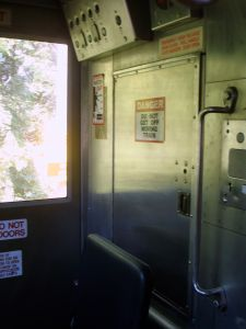 Another view of the driver's station on the Dinky train.