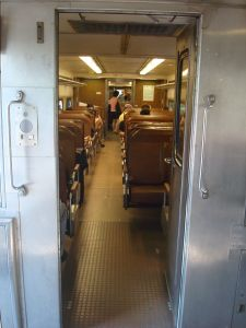 Inside the Dinky train.