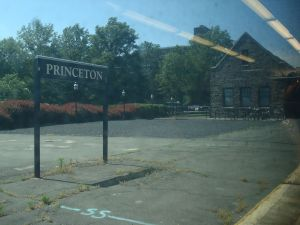 Arriving in Princeton by rail, with the old Dinky waiting room in the background.