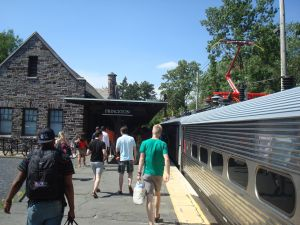 Passengers getting off the Dinky at Princeton Station.
