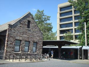 The current Princeton station takes passengers to a fairly central part of the University campus. In this picture, the mid-rise modern building immediately across from the station is the New South Building, which contains University offices and services.