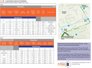 FreeB Commuter timetable and route. Click to Expand.