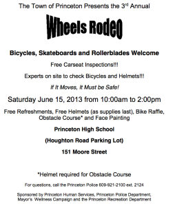 Public Announcement for the Princeton Wheels Rodeo.