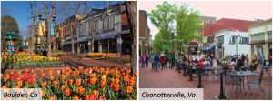 Boulder, CO (left) and Charlottesville, VA (right) earned joint-top spot in our analysis of 10 different 'Top College Towns' surveys! (Click to expand)