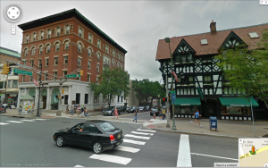 Intersection of Nassau Street and Witherspoon Street, Princeton, as seen from Google Street view. Click to expand.