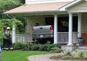 A Princeton resident was awoken from a nap to find a truck crashed through her living room in one recent reckless driving incident (photo from Princeton Patch, click to expand)