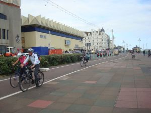 Cycle lanes along the sea front in Brighton. (Click to expand.)