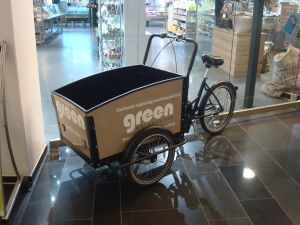 Cargo bike available for customer use in grocery store in Malmo's West Harbor mixed-use development. (Click to expand)