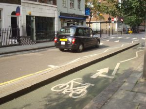 Protected bike lanes, such as this one in Fitzrovia, have sprung up all around London. (Click to expand)