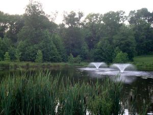 Fountains and lake in Princeton's Barbara Smoyer Park. (Click to expand.)