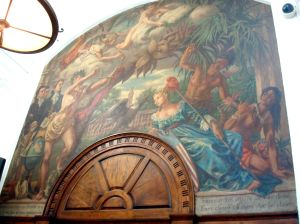 The mural inside the Princeton Post Office, Palmer Square. (Click to expand)