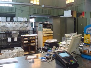 Behind the postal counter at the Princeton Post Office. (Click to expand)