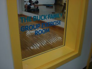 The 'Buck Family Group Exercise Room' commemorates Whip Buck, a supporter and benefactor of Princeton's YMCA (click to expand.)
