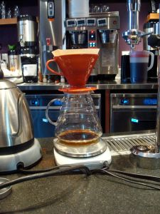 The Chemex V-60, the workhorse for slow-brewed coffee at Rojo's. (Click to expand.)