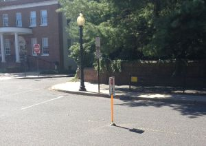 Hooray! A new in-street 'stop for pedestrians' sign at Chambers and Hulfish! But questions remain... (click to expand)