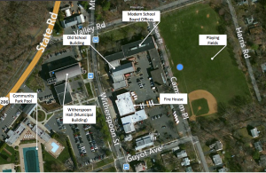 Site Plan of the 369 Witherspoon St / Valley Road School Site, showing the old school building, in-use School Board offices, playing fields, firehouse, and plenty of surrounding surface parking and green space. (Click to expand.)