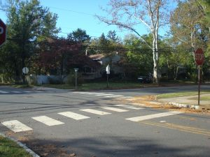 'International'-style crosswalk in Princeton, on a beautiful fall morning. (Click to expand.)