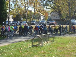 Riders gather for the 'Ride of the Fall Leaves' in Community Park South. (click to expand.)