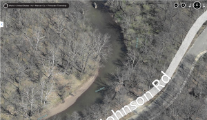 Stony Brook viewing place, from Bing Maps, click here for scrollable map, or click the image to expand.