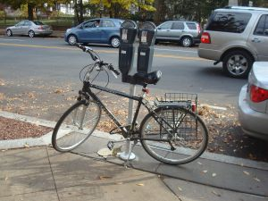 Lacking proper bike racks, Princeton-area cyclists routinely lock their bikes to trees, lamp-posts and parking meters. (Click to expand.)
