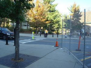 Crossing patrol at the old Dinky Station near the Arts and Transit Construction Zone. (Click to expand.)