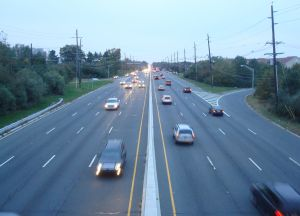US-1 next to Princeton, NJ, viewed from the bridge at Scudders Mill Road. (Click to expand.)