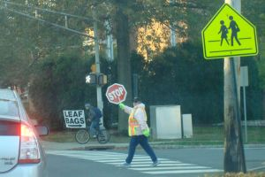 A crossing guard in the line of duty at Mount Lucas and Valley Road in Princeton. (click to expand.)