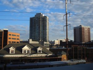 New Brunswick skyline with rail station in foreground. (Click to expand.)