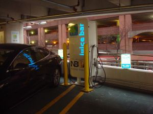 New Brunswick Parking Authority 'Juice Bar' where electric cars charge while parked. (click to expand.)