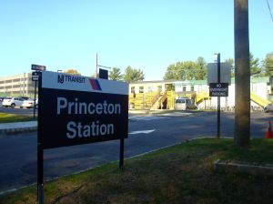 Rail passengers to Princeton now arrive in a parking lot half-way along Alexander Street instead of the historic 'Dinky' station. (click to expand.)
