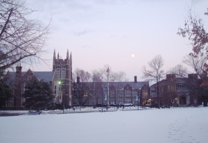Princeton High School with snow and moon. (click to expand.)