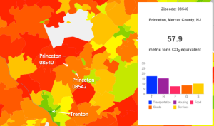 Carbon output map of Princeton and surrounding zipcodes in New Jersey. Red indicates greater carbon output, green indicates lower carbon output. (Click to expand.) Courtesy of