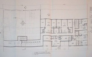 First floor plan, showing bank and residential units at rear. (click to expand.)