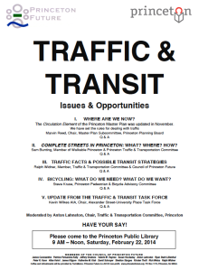 Flyer for upcoming Princeton Future meeting on Traffic and Transport. See also here for full-size version.