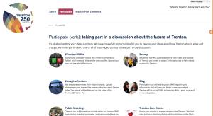 Screenshot of Trenton Community Masterplan website 'Trenton250.org' (click to expand.)