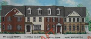Townhome styles from the proposed Toll Brothers mixed-use development in West Windsor. (click to expand.)