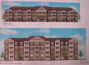 Renderings of Building Types 'B' and 'C' from the Toll Brothers plan. (click to expand.)