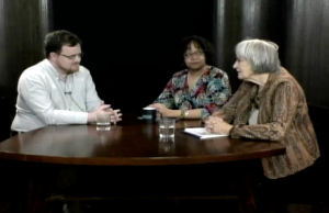 David Keddie (left) interviewed by Michele Tuck-Ponder (middle) and Ingrid Reed on 'Reed and Ponder' (Click to expand, image from Princeton Community Television).