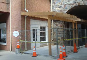 Outdoor seating area under construction at Teresa Cafe. (Click to expand.)