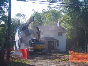 Another old home in Princeton's Mt Lucas Drive gets demolished for new-build construction. Summer of 2014. (click to expand.)